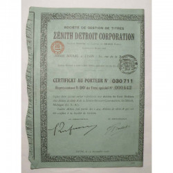Certificat : Zenith Detroit Corporation ( 638 )