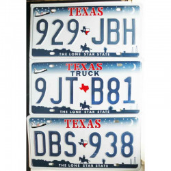 lot de 3 Plaques d Immatriculation USA - Texas ( 477 )