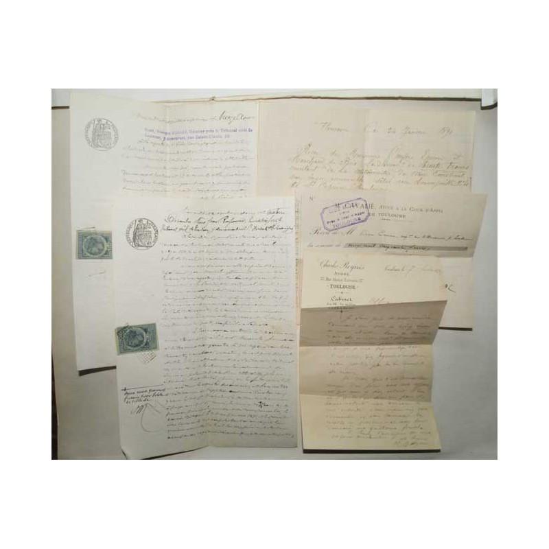 Lot de 5 actes de procedure vers 1890  ( 011 )