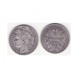 1 piece de 2 francs Ceres Argent 1881 A ( 001 )