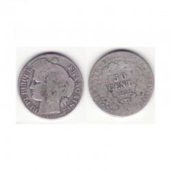 1 piece de 50 centimess Ceres Argent 1872 K ( 001 )