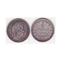 5 francs Louis Philippe 1838 BB Argent ( 001 )