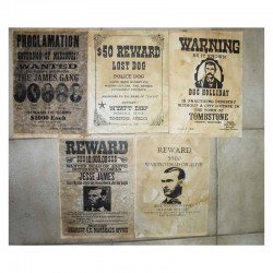 Lot 5 affiches USA Western , Cowboys ( 014 )