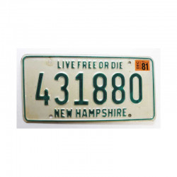 Plaque d Immatriculation USA - New Hampshire ( 838 )