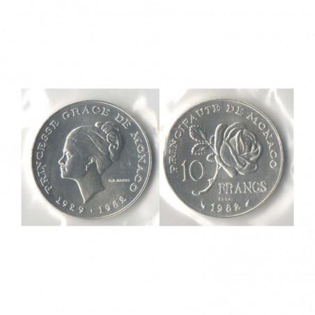 10 francs essai Argent FDC Pricesse Grace 1982 Monaco