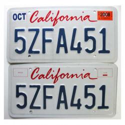 paire de Plaque d Immatriculation USA - California ( 025 )