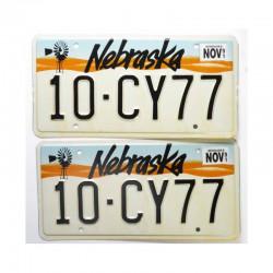 paire de Plaque d Immatriculation USA - Nebraska ( 018 )