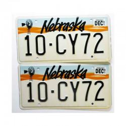 paire de Plaque d Immatriculation USA - Nebraska ( 016 )