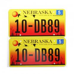 paire de Plaque d Immatriculation USA - Nebraska ( 015 )
