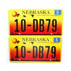 paire de Plaque d Immatriculation USA - Nebraska ( 014 )