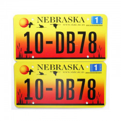 paire de Plaque d Immatriculation USA - Nebraska ( 013 )