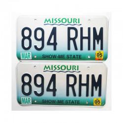 paire de Plaques d Immatriculation USA Missouri ( 008 )
