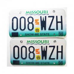 paire de Plaques d Immatriculation USA Missouri ( 007 )