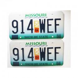 paire de Plaques d Immatriculation USA Missouri ( 006 )