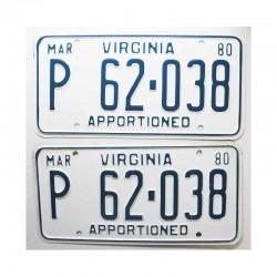 paire de Plaques d Immatriculation USA Virginia ( 004 )
