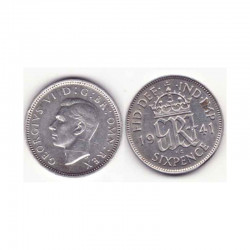 6 pence Angleterre  Argent 1941 ( 001 )