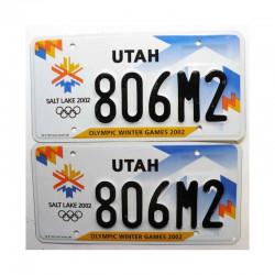 Paire de Plaque d Immatriculation USA - Utah ( 049 )