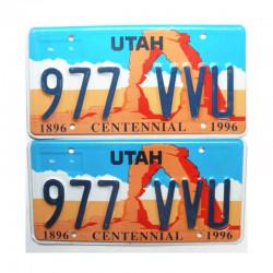 Paire de Plaque d Immatriculation USA - Utah ( 045 )