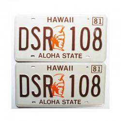 paire de Plaques d Immatriculation USA - Hawaii ( 064 )