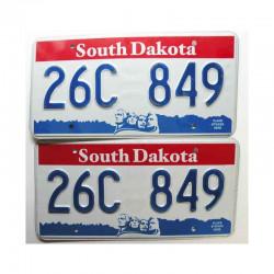 paire de Plaques d Immatriculation USA - South Dakota ( 062 )