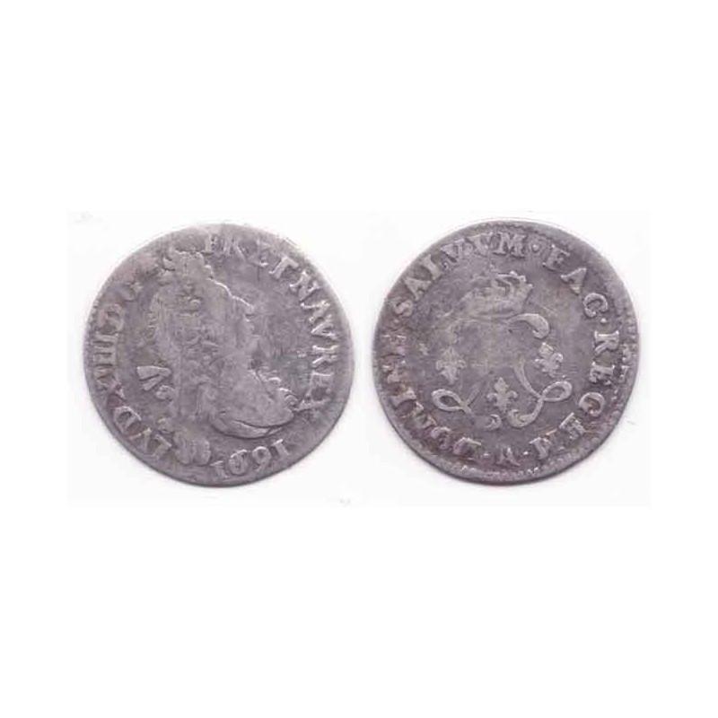 4 Sols aux 2 L Louis XIV 1691 A Argent