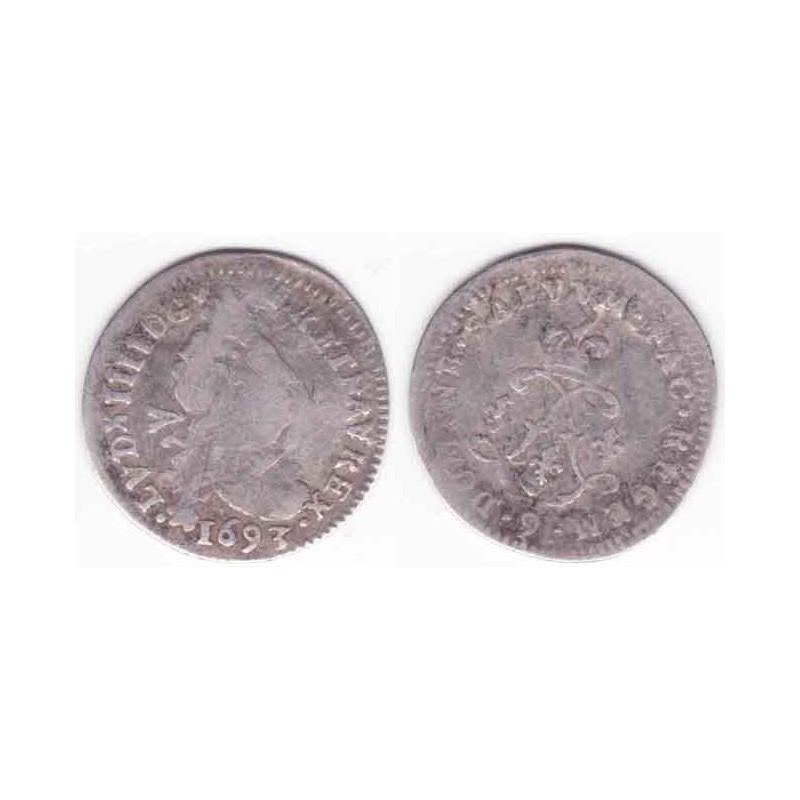 4 Sols aux 2 L Louis XIV 1693 9 Argent