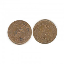 1 cent Cuivre Indo chine 1885  ( 001)