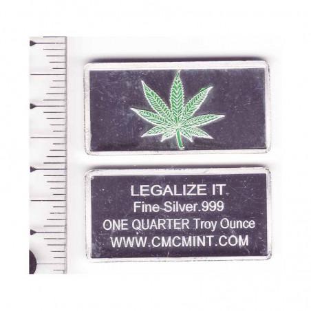 lingot d argent massif  Cannabis 7.75 grammes ( vert )