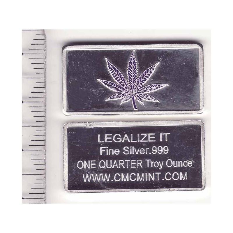lingot d argent massif  Cannabis 7.75 grammes ( gris )