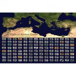 poster des monnaies Greque , localisation des ateliers