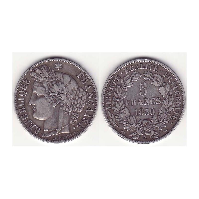 1 piece de 5 francs Ceres Argent 1850 A ( 006 )