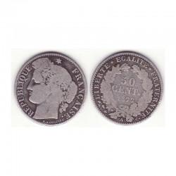 1 piece de 50 centimes Ceres Argent 1872 A ( 001 )