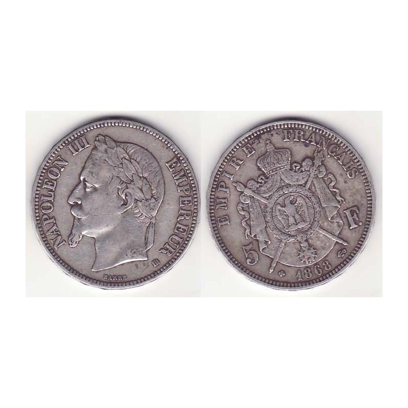 5 francs Napoleon III 1868 BB argent ( 006 )
