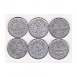 lot de 6 pieces de 5 Francs Lavrillier Alu ( lot 012)