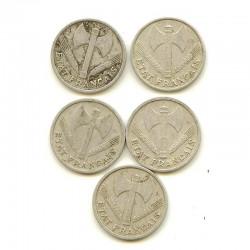 lot de 5 pieces de 1 Franc Bazor Alu ( 002 )