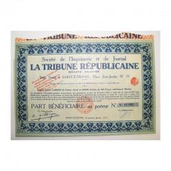 Part bénéficiare Sté la tribune républicaine ( 564 )