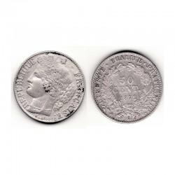 1 piece de 50 centimes Ceres Argent 1872 A ( 002 )
