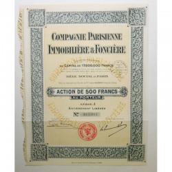 Action Ancienne : compagnie parisienne immobiliere et fonciere ( 636 )