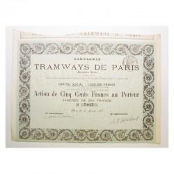 Action Anciene : compagnie des tramways de Paris  ( 392 )