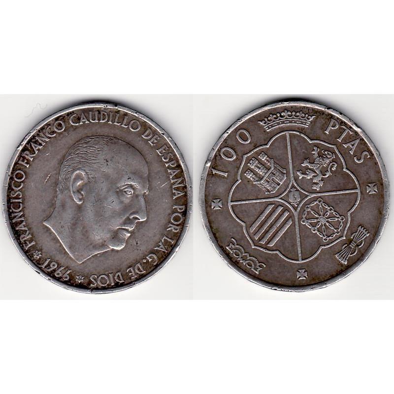 100 Pesetas Argent 1966 Espagne ( 1 )