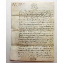 Parchemin sur peau de cochon 1789 Bordeaux (  010 )